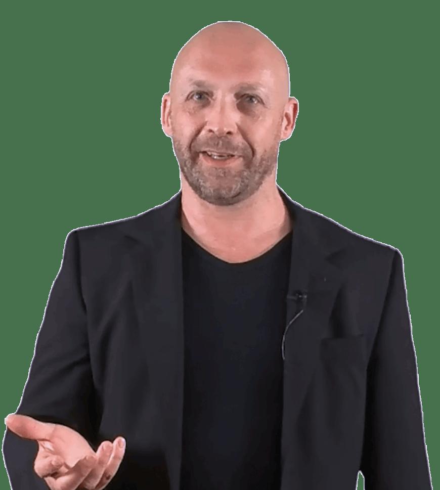 Wolfgang Portrait schwarzers Jacket, offene Hand